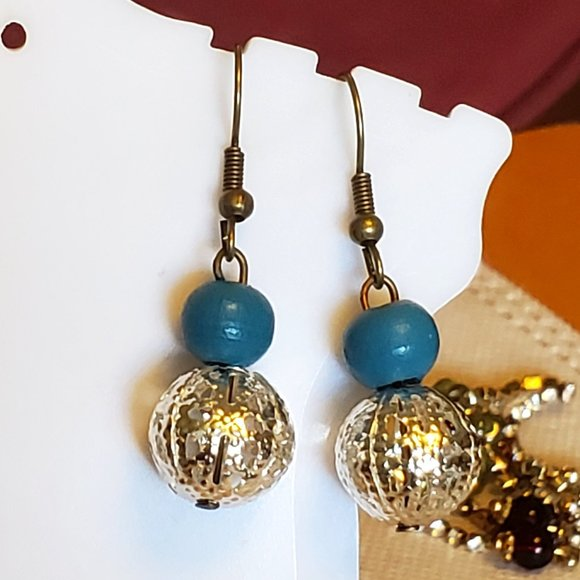 Bronze Hook Metal and Wood Bead Dangle Earrings